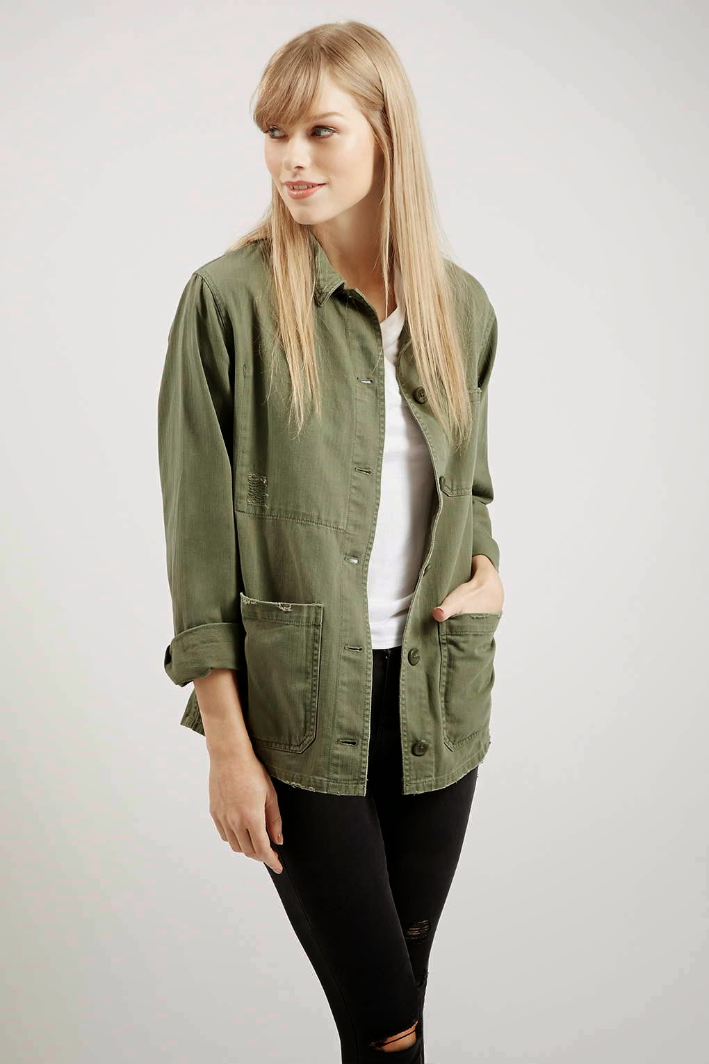 Khaki Shirt Jacket | Designer Jackets