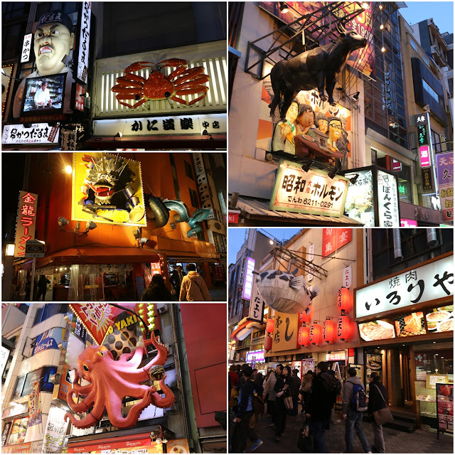 Catchy Osaka food displaying on restaurants' signboards  to grab customers' attention at Dotonbori in Osaka, Japan