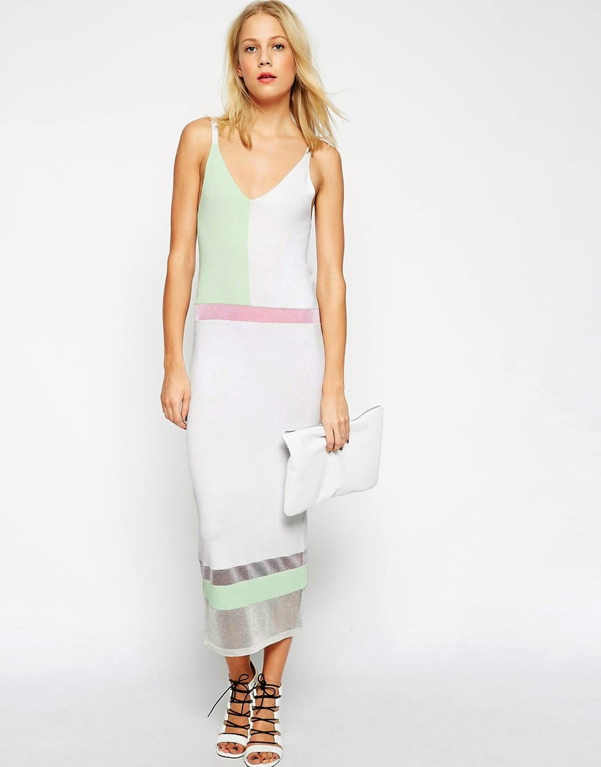 pastel midi dress, pastel colour block dress,