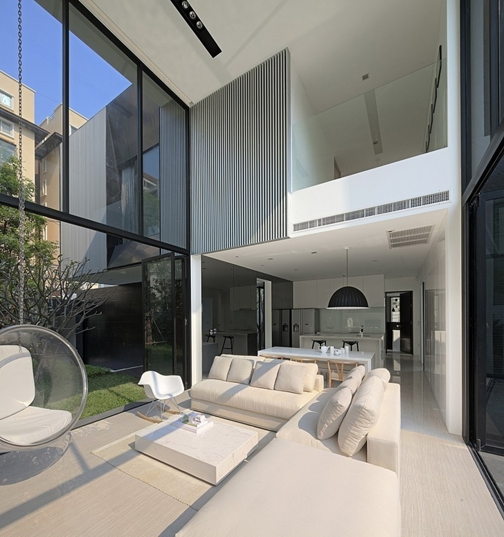 Bright living room in Modern mansion in Singapore