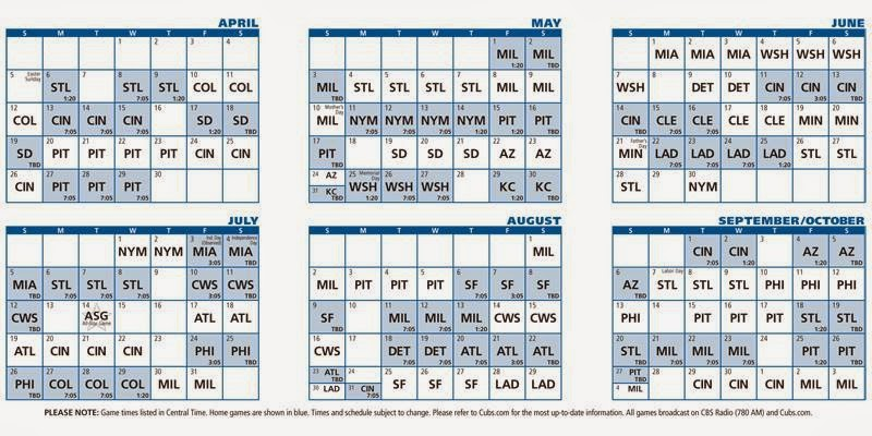photo relating to Printable Cubs Schedule called 2015 Chicago Cubs Routine