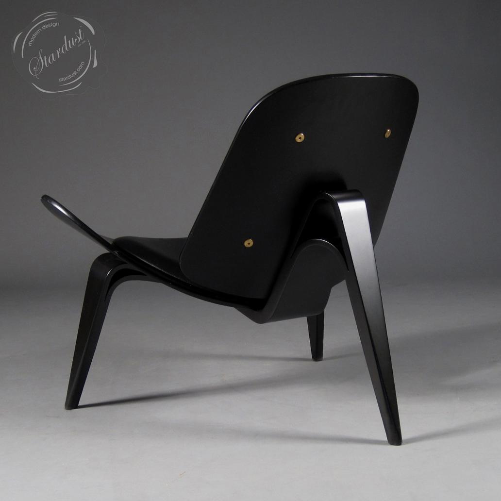 Modern Interior Design Shell Hans Wegner Ch07 Lounge Chair Black Leather