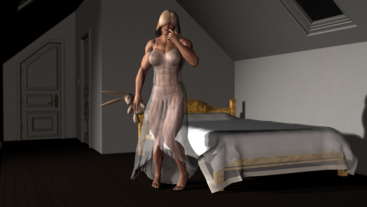 A 3D Rendered Muscular Female By Plinius