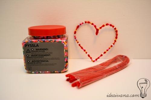 fuzzy wire hama heart valentines gift diy