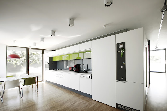 Simple modern kitchen in the Black On White House by Parasite Studio