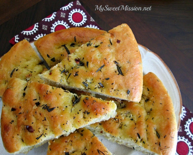 Rosemary & Thyme Focaccia Bread Recipe by MySweetMission.net