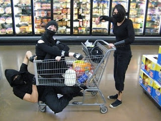 ninjas, grocery shopping, grocery cart, milk
