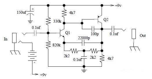Simple Tone Booster Schematic Diagram