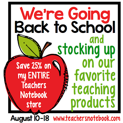 Teachers Notebook back to school sale