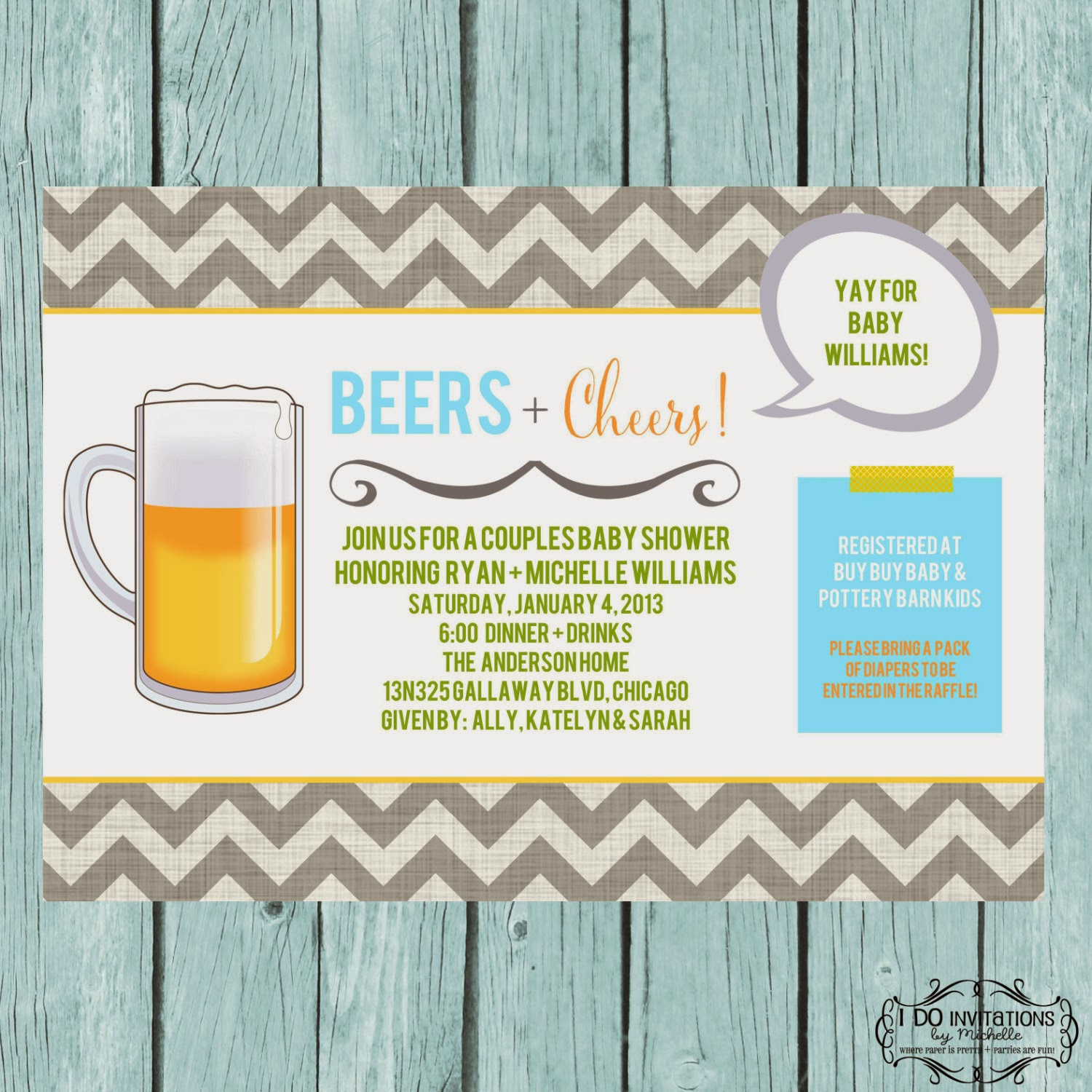 beers cheers couples baby shower invitation