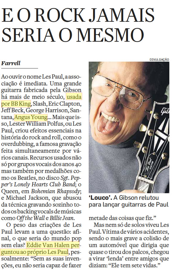 Matéria do Estadão assinada por Farrell sobre Les Paul