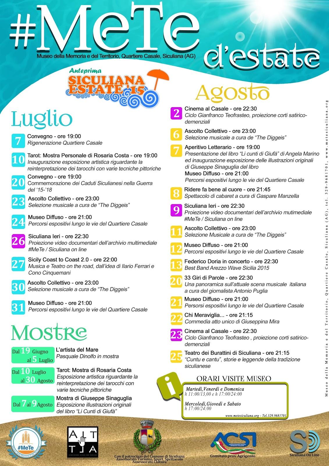 #MeTe d'estate: il calendario degli eventi estivi al Museo #MeTe di Siculiana