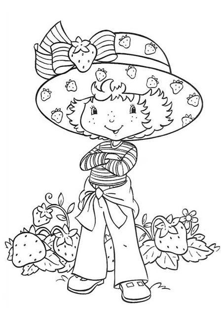 بنت صغيرة بين حبات الفراولة للتلوين