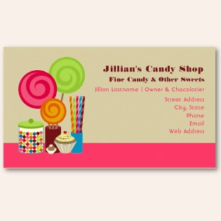 Heather wagners portfolio 19 research and inspiration i like this candy shop business card because it is fun by using pictures on the left side and it is serious on the right side where the information is colourmoves