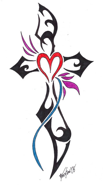 Hot and sexy cross tribal tattoos give love tough with heart