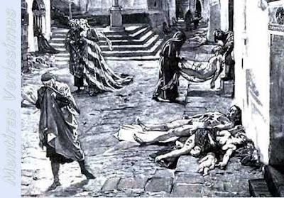Ilustração do artista italiano Marcello mostrando a Peste Negra na Itália em 1348