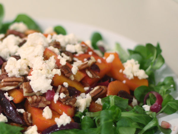 Food for Friday: Roasted Butternut Squash, Beetroot, Pecan Nuts and Goat's Cheese Salad
