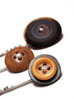 brown, tan, and earth toned hair accessories with vintage buttons