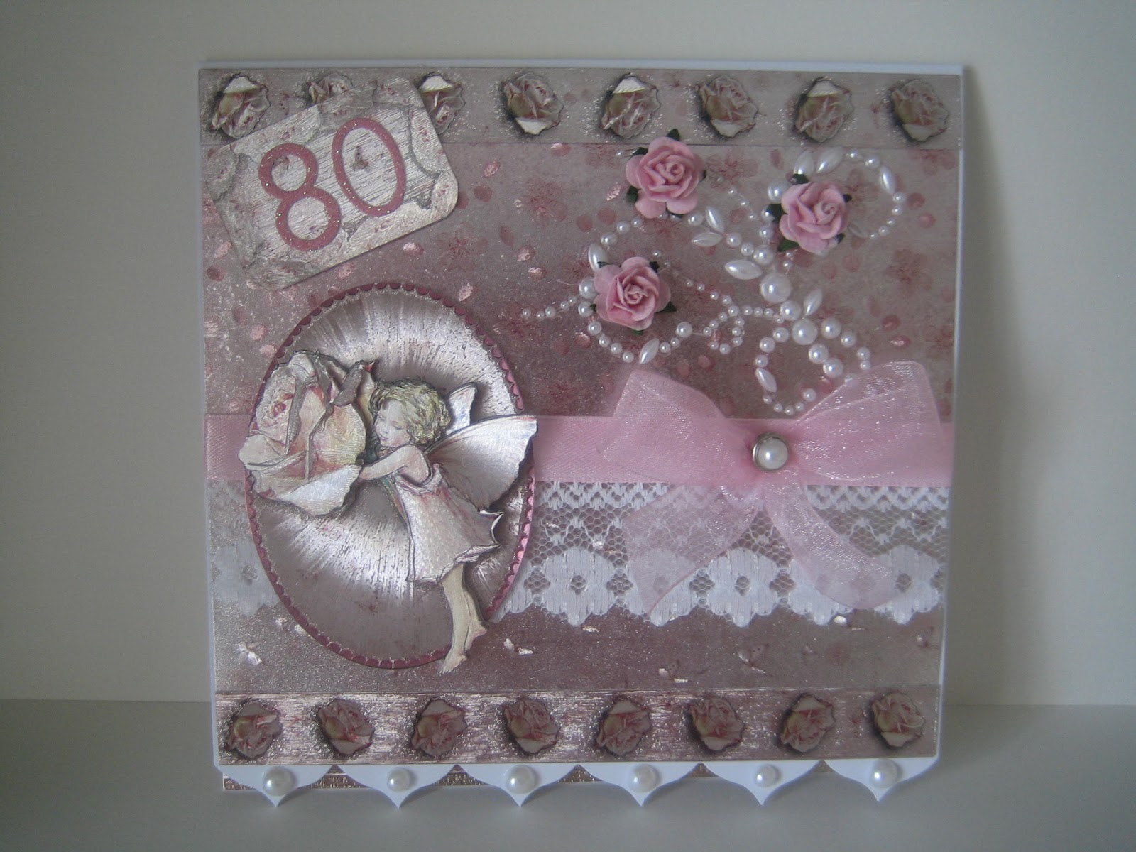 Pixies Crafty Workshop In the pink at 80 – 80th Birthday Cards for Mum