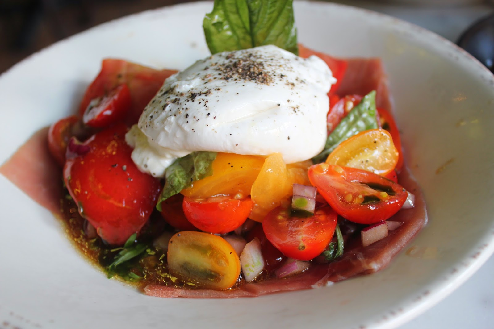 Burrata and tomatoes at Pastoral, Boston, Mass.
