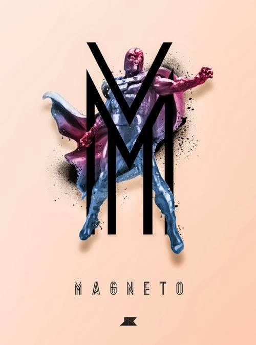 Josip Kelava typographic illustrations super heroes villains comics games movies Magneto