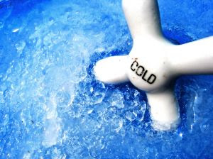 Cold! A vintage bathtub knob. Stock Photo Credit: foobean01