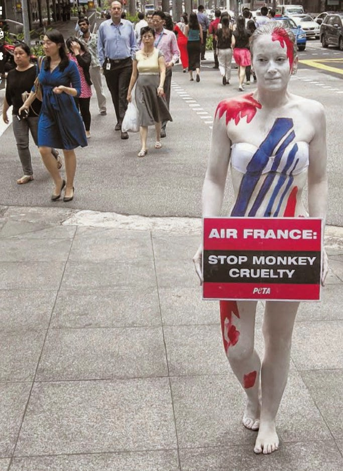 Clad in nothing more than white underwear and covered with body paint meant to represent a bloody Air France logo, animal activist Ashley Fruno stood outside the Anson Road office of the French airline yesterday afternoon.