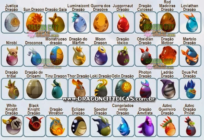 Todos os Ovos do Dragon City