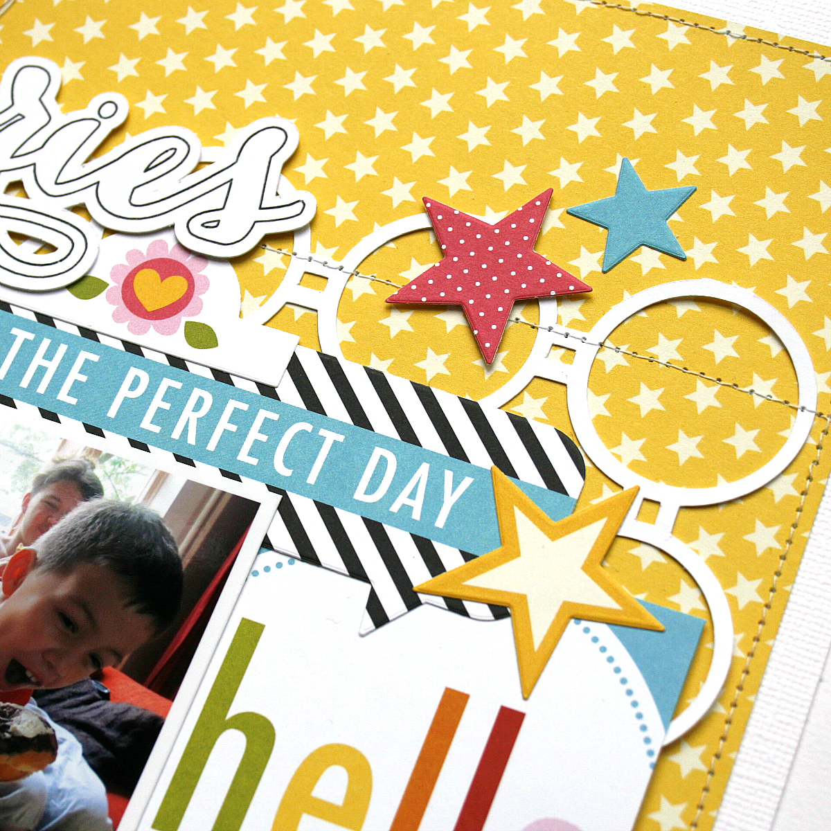 Memories Scrapbook Page by Monique Liedtke featuring 17turtles Digital Cut Files Circle Grid and This Is Magic