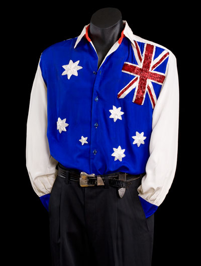 beaded australian flag shirt large