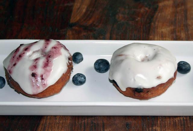 Homemade blueberry cake doughnuts