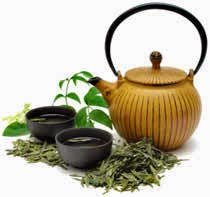 Green Tea With Pot And Cups