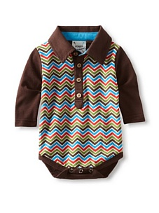 MyHabit: Save Up to 60% off Fore!! Axel + Hudson: Long Sleeve Charlie Brown Print Polo Bodysuit - Retro-style polo bodysuit for your man, multi-color chevron stripe front