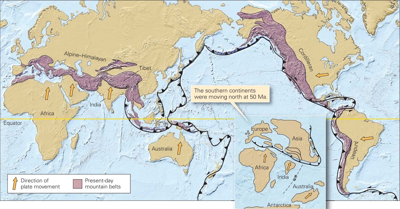 The cenozoic era the modern world comes to be learning geology the two main active continental orogenic systems on the earth today the alpine himalayan system formed when africa india and australia collided with asia gumiabroncs Images