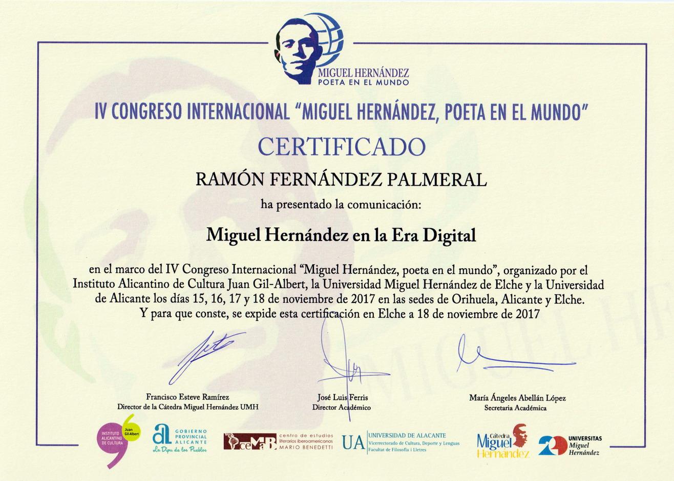 Certificado comunició IV Congreso Internacional Miguel Hernández
