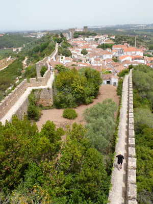 High up on the fortress walls of Obidos