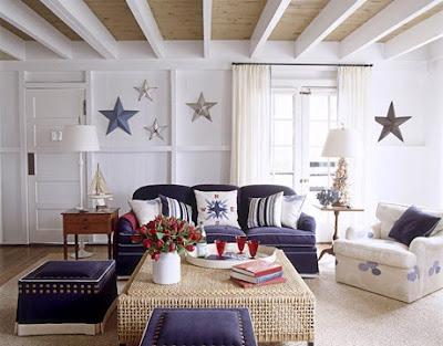 Nautical Living Room With Starfish Wall Decor