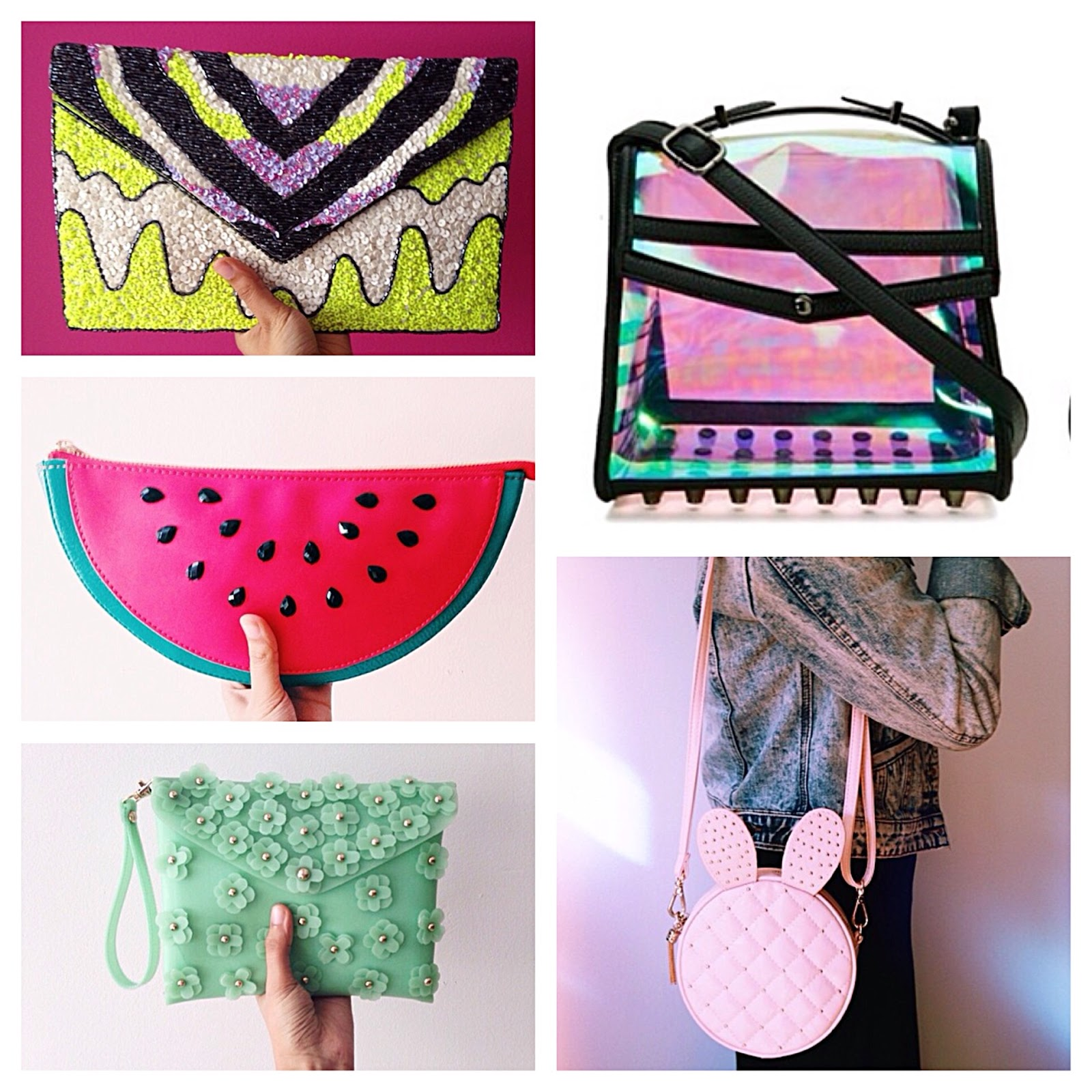 nila anthony hand bags, handbags, watermelon clutch, neon transparent purse, 3d mint flower clutch