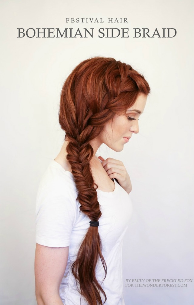 festival hair, braid, red head, tutorial, side braid