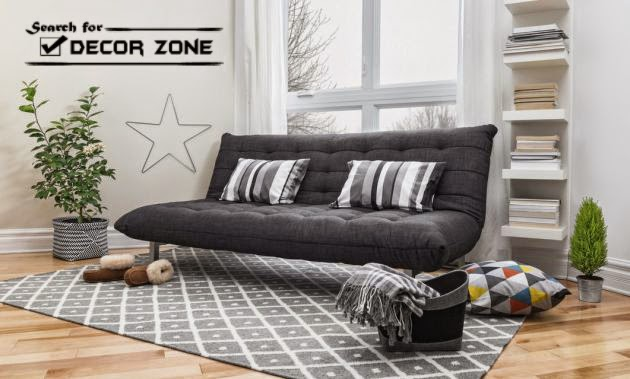 Black Gray Metal Futon Sofa Bed For Small Living Room