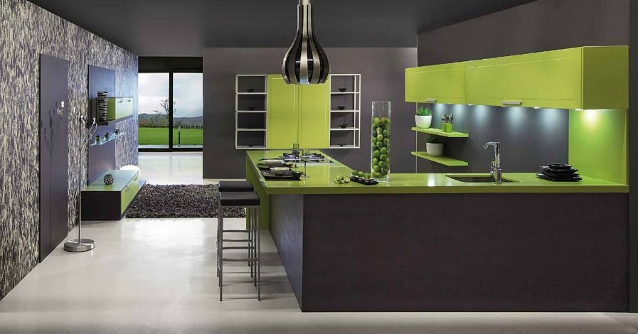 cuisine vert et gris. Black Bedroom Furniture Sets. Home Design Ideas