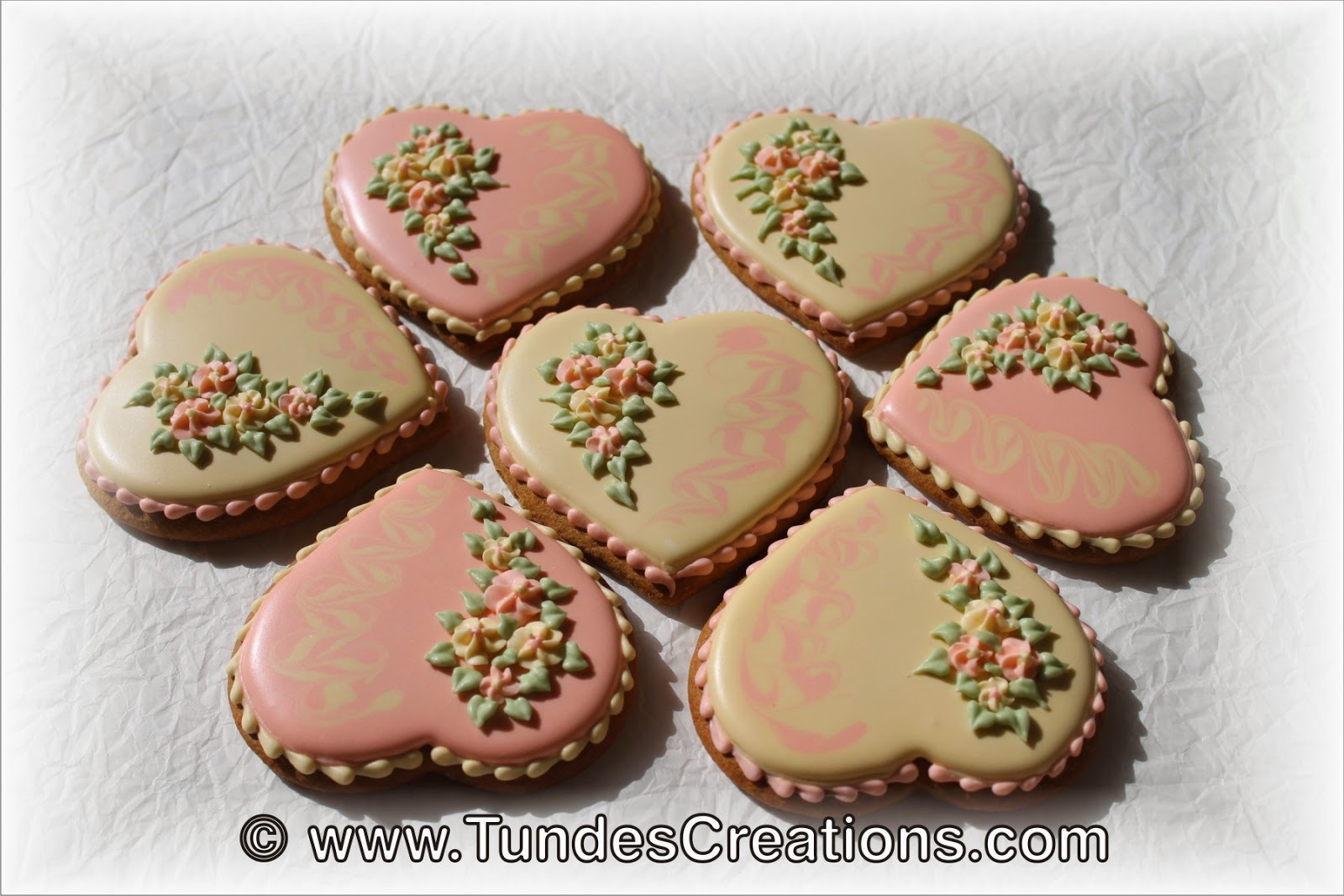 Baby shower cookies - hearts