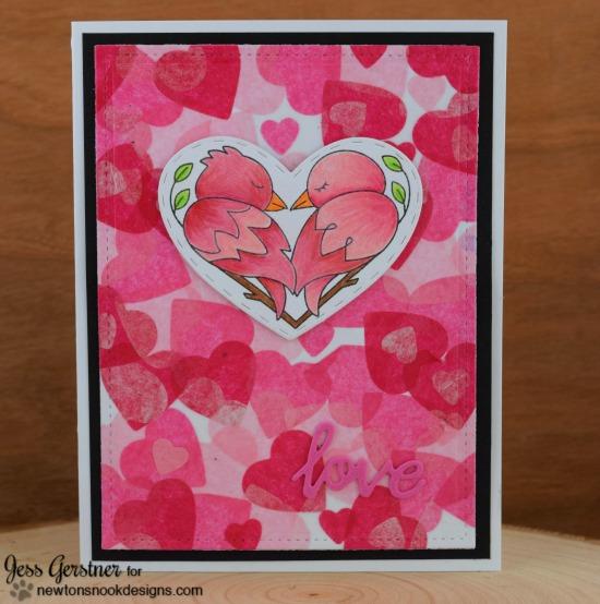 Bird Love Valentine Card by Jess Gerstner | Darling Duos Stamp Set by Newton's Nook Designs #newtonsnook