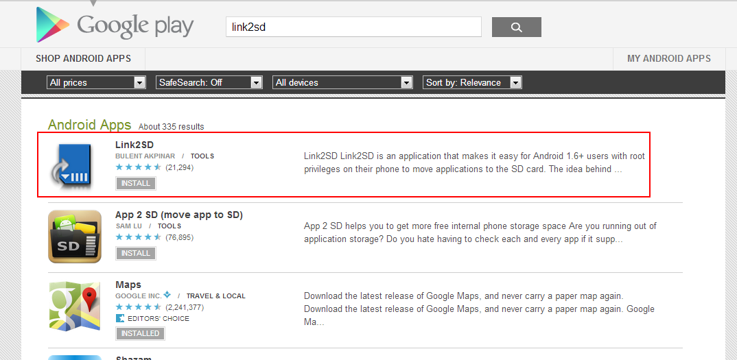 google play store how to download to sd card