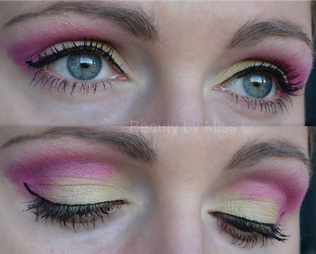 pink yellow eye makeup