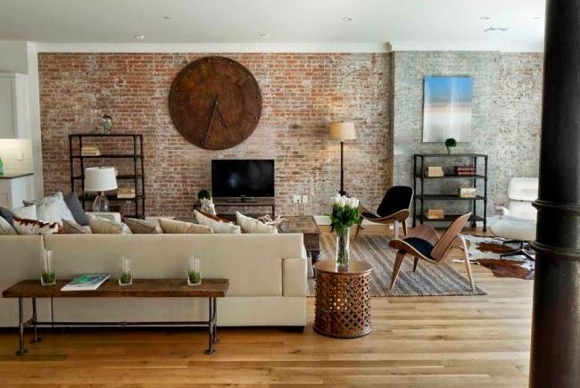 Salas decoradas con paredes de ladrillos salas con estilo - Ladrillos de colores ...