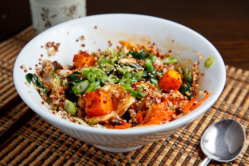Roasted Butternut Squash, Black Bean and Swiss Chard Quinoa Bibimbap