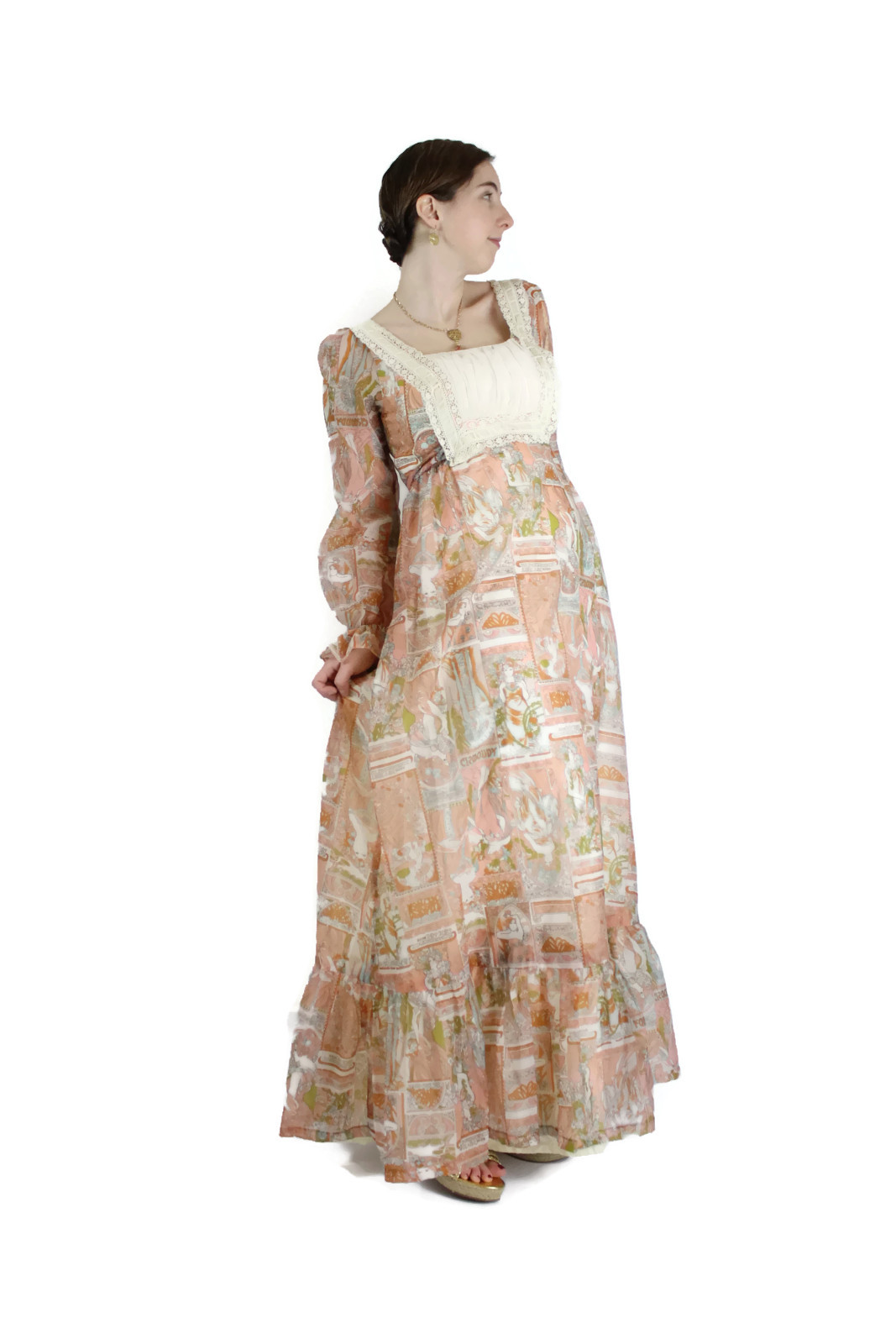 1960s 1970s alphonse mucha print maxi dress