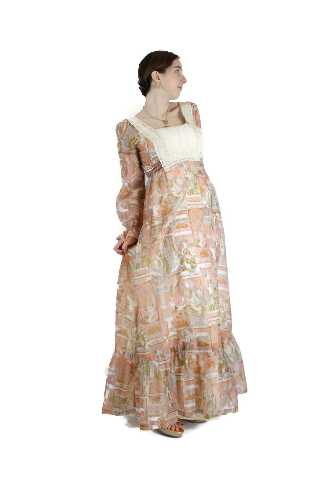 1960s 1970s alphonse mucha print maxi dress