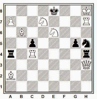 Problema de mate en 2 compuesto por J. García Llamas (1º/2º premio, Agrupación Artística Aragonesa, 1950)